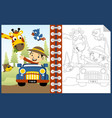 boy on vehicle cartoon with funny animals vector image