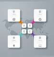 business infographics template 4 steps with square vector image vector image