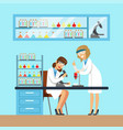 chemists females testing chemical elements vector image vector image