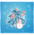 Christmas tree and snowman vector image vector image