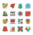 clearance sale christmas new year icon flat set vector image