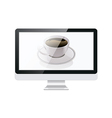 Computer Monitor and Coffee vector image