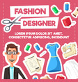 fashion designer or tailor profession poster vector image vector image