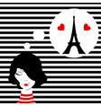 fashion girl dreaming of paris vector image