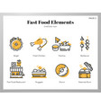 fast food elements linecolor pack vector image