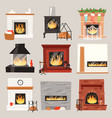 fireplace warm fire place in interior of vector image