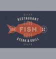 fish seafood vintage icon fish label logo vector image