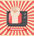 fist hand in retro television vector image vector image