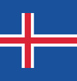 flag of iceland in official rate and colors vector image