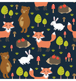Forest seamless pattern with cute animals vector image vector image