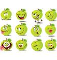 green apple emoticon flat design cartoon il vector image