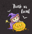 halloween card with girl in witch costume vector image