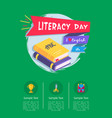 happy literacy day poster with icons of stationery vector image