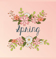 hello spring label with flowers wreath crown vector image