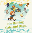 Idiom raining cats and dogs vector image vector image