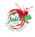 logo splashes cherry juice on white vector image vector image