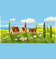 lovely country rural landscape sheep graze farm vector image
