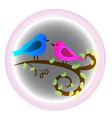 loving birds valentine heart logo symbol vector image vector image