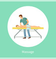 massage poster masseuse making relaxing movements vector image vector image