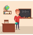 Mathematics teacher with pointer in blackboard vector image vector image