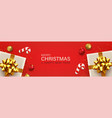 merry christmas and new year red background vector image vector image