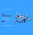 mobile app development isometric landing page