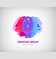 people faces logo reative team group vector image