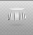 plain white fabric sheet covering round table vector image