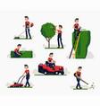 professional gardener using garden machinery vector image vector image