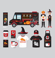 restaurant cafe design set street halloween food vector image vector image