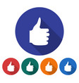round icon of fist with raised thumb flat style vector image vector image
