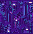 seamless pattern isometric city with skyscrapers vector image