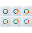 set of modern style circle donut charts vector image vector image