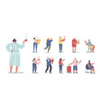 set people drinking different beverages tiny vector image vector image