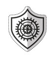 Shield security with gear isolated icon