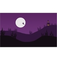 Silhouette of witch Halloween vector image