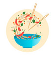 stir fry flipping noodlesin a bowl vector image vector image