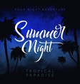 summer night tropical background with palms sky vector image vector image