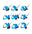 Swoosh Small Letters Logo Icons Set 3 vector image vector image
