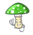 thumbs up green amanita mushroom character cartoon vector image vector image