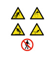 workplace sign slippery falling fall vector image vector image