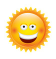 yellow sticker happy sun icon vector image