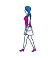 young woman wearing a casual outfit takes a walk vector image vector image
