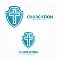 Cross on the shield church logo vector image