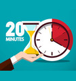 20 twenty minutes time symbol time countdown icon vector image vector image