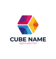 abstract cube logo cube colorful logo design vector image vector image