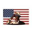 American soldier serviceman saluting vector image