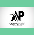 ap a p creative brush black letters design with vector image vector image