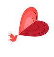 beautiful red bird in love vector image