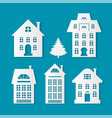 buildings silhouettes christmas cutout paper cut vector image